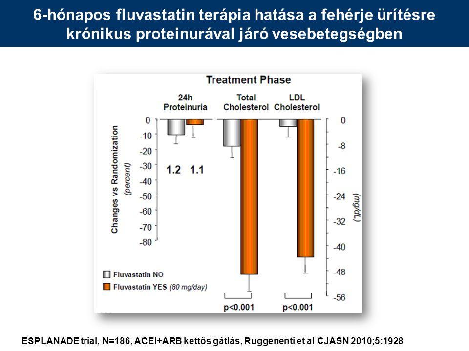 6-hónapos fluvastatin terápia hatása a fehérje ürítésre krónikus proteinurával járó vesebetegségben ESPLANADE trial, N=186, ACEI+ARB kettős gátlás, Ruggenenti et al CJASN 2010;5:1928
