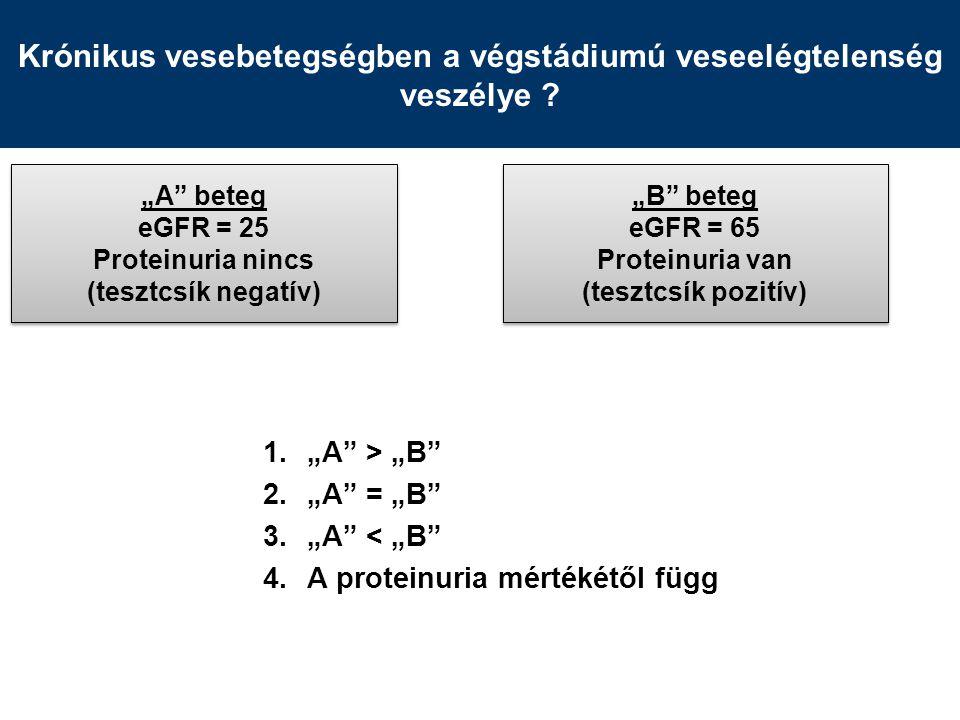 Összefoglalás A proteinuria jelentősége –Mértéke önmagában a progresszió előjelzője –Csökkentésének mértéke a vesevédelem előjelzője –Parciális remisszió elérése is fontos glomerulopathiában A proteinuria okozta vesefunkció romlás mechanizmusa –Tubuláris fehérje túlterhelés és interstitalis gyulladás –A proteinuria a progressziót nemcsak jelzi, hanem annak oka is –A proteinuria csökkentése önmagában (az alapbetegségől függetlenül) is a terápia célja kell legyen A proteinuria csökkentés lehetőségei –Immunszupresszív kezelés közvetlenül is befolyásolja a podocytákat –Klasszikus és új módszerek