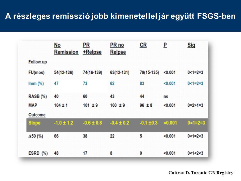 A részleges remisszió jobb kimenetellel jár együtt FSGS-ben Cattran D. Toronto GN Registry