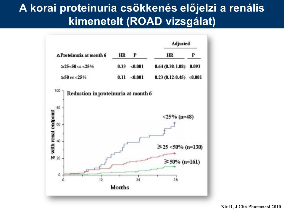 A proteinuria csökkenés klinikai haszna a GFR megőrzés szempontjából MDRD: 1g/d csökkenés 4 hónap után 1 ml/min/ év kisebb progresszió REIN: 1g/d csökkenés 3 hónap után 2 ml/min/év kisebb progresszió JASN 2003;14:3214