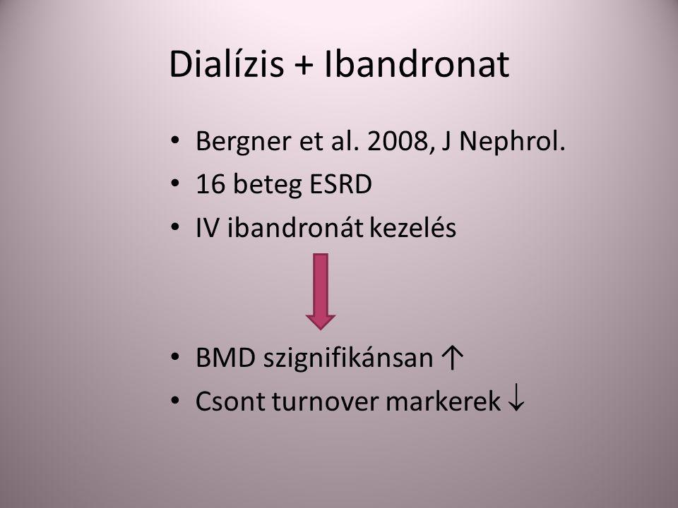 Dialízis + Ibandronat Bergner et al. 2008, J Nephrol. 16 beteg ESRD IV ibandronát kezelés BMD szignifikánsan ↑ Csont turnover markerek 