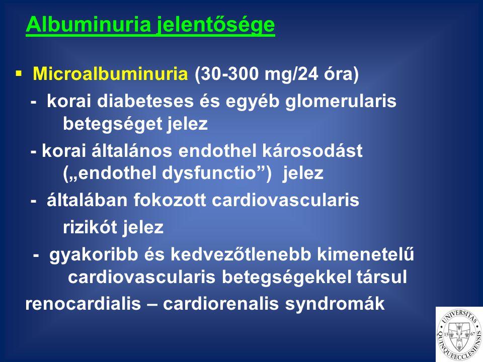 """Albuminuria jelentősége  Microalbuminuria (30-300 mg/24 óra) - korai diabeteses és egyéb glomerularis betegséget jelez - korai általános endothel károsodást (""""endothel dysfunctio ) jelez - általában fokozott cardiovascularis rizikót jelez - gyakoribb és kedvezőtlenebb kimenetelű cardiovascularis betegségekkel társul renocardialis – cardiorenalis syndromák"""