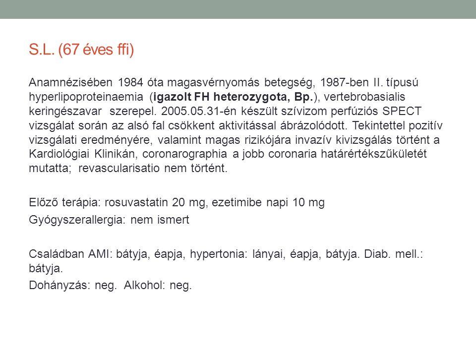 S.L. (67 éves ffi) Anamnézisében 1984 óta magasvérnyomás betegség, 1987-ben II. típusú hyperlipoproteinaemia (igazolt FH heterozygota, Bp.), vertebrob
