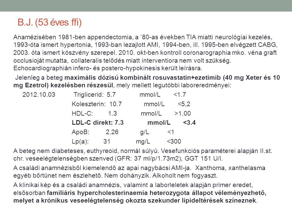 B.J. (53 éves ffi) Anamézisében 1981-ben appendectomia, a '80-as években TIA miatti neurológiai kezelés, 1993-óta ismert hypertonia, 1993-ban lezajlot