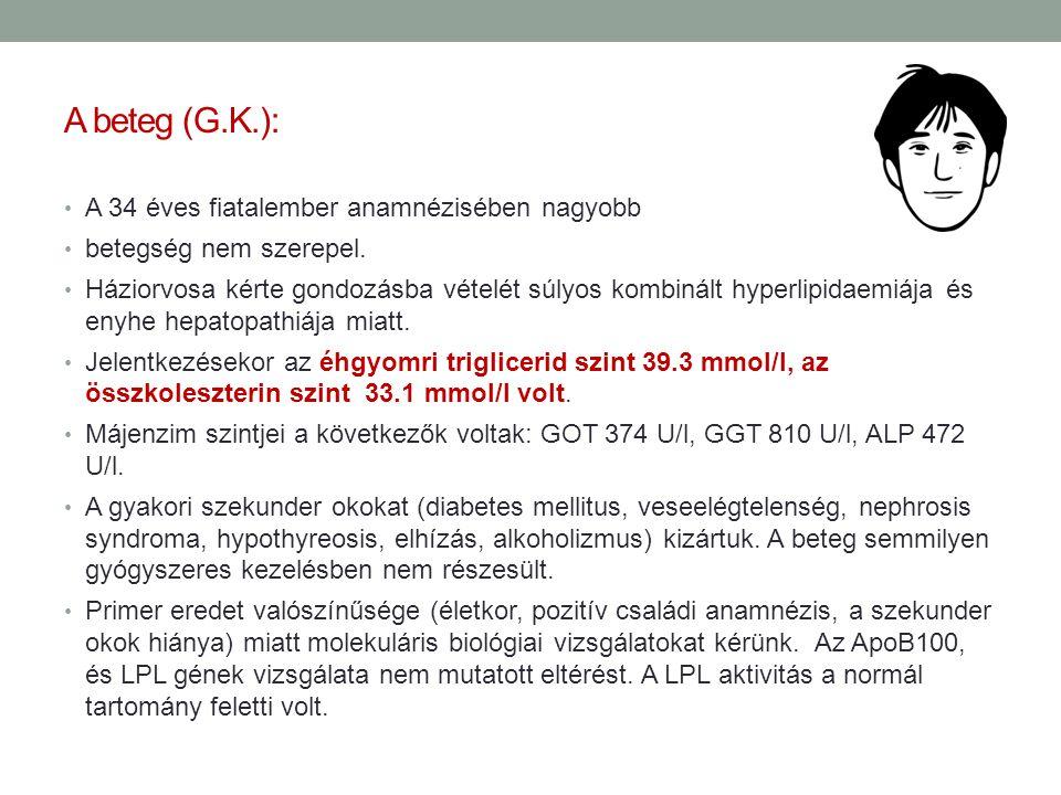 A beteg (G.K.): A 34 éves fiatalember anamnézisében nagyobb betegség nem szerepel. Háziorvosa kérte gondozásba vételét súlyos kombinált hyperlipidaemi