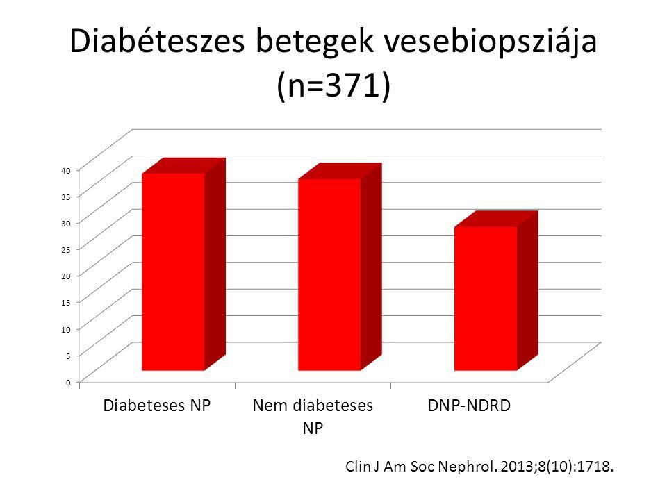 Diabéteszes betegek vesebiopsziája (n=371) Clin J Am Soc Nephrol. 2013;8(10):1718.
