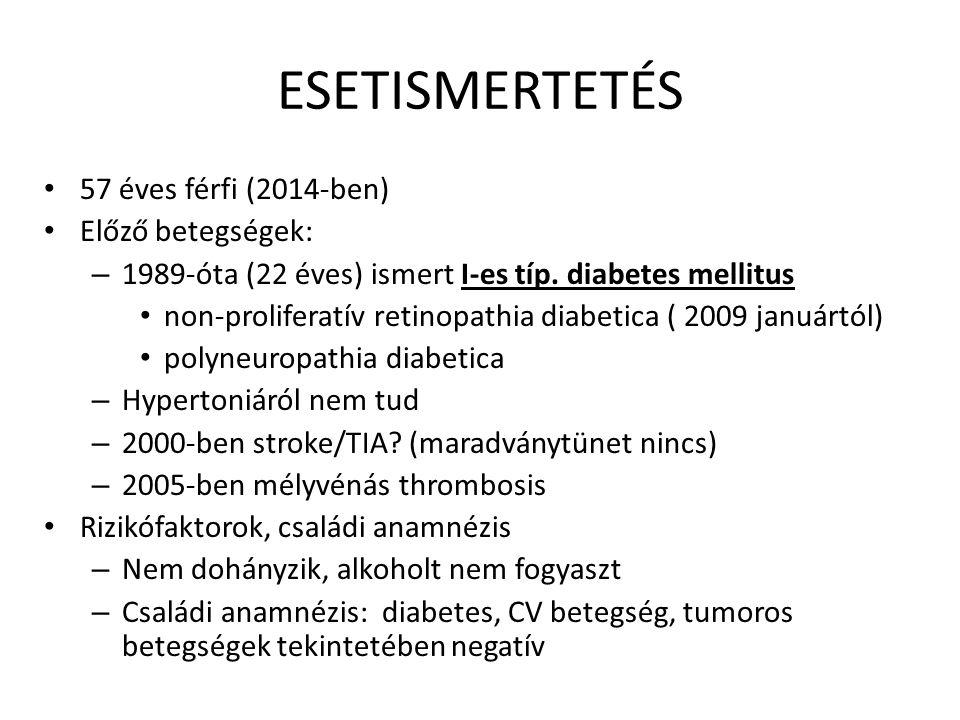 ESETISMERTETÉS 57 éves férfi (2014-ben) Előző betegségek: – 1989-óta (22 éves) ismert I-es típ. diabetes mellitus non-proliferatív retinopathia diabet