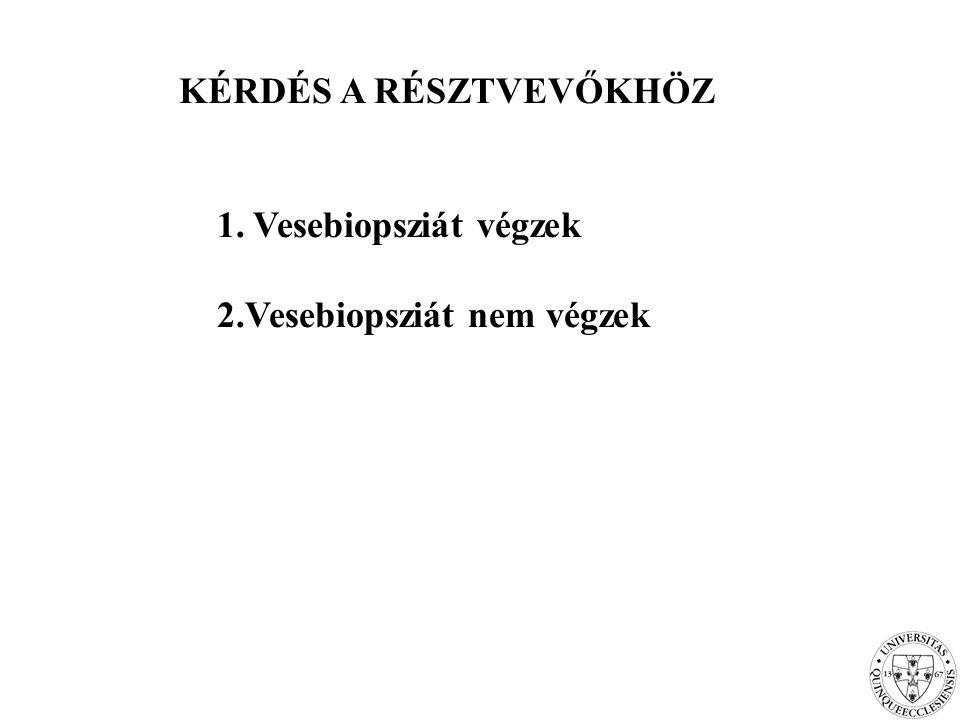 KÉRDÉS A RÉSZTVEVŐKHÖZ 1. Vesebiopsziát végzek 2.Vesebiopsziát nem végzek