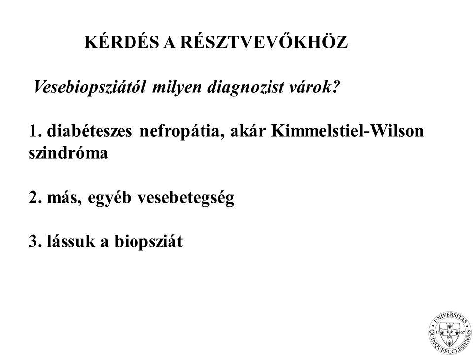 KÉRDÉS A RÉSZTVEVŐKHÖZ Vesebiopsziától milyen diagnozist várok? 1. diabéteszes nefropátia, akár Kimmelstiel-Wilson szindróma 2. más, egyéb vesebetegsé