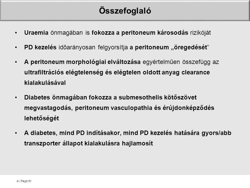 """sl   Page Összefoglaló Uraemia önmagában is fokozza a peritoneum károsodás rizikóját PD kezelés időarányosan felgyorsítja a peritoneum """"öregedését"""" A"""