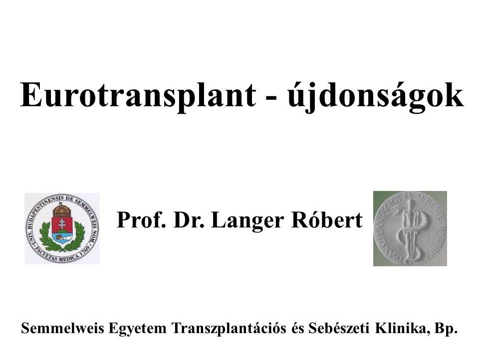 Eurotransplant - újdonságok Prof.Dr.