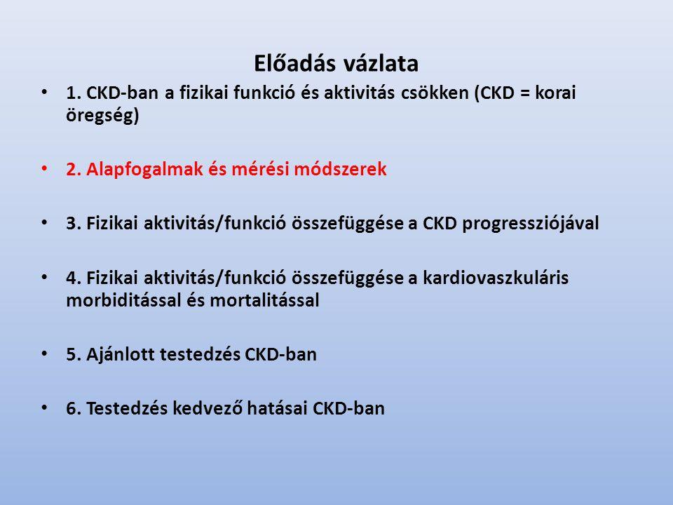 Előadás vázlata 1.CKD-ban a fizikai funkció és aktivitás csökken (CKD = korai öregség) 2.