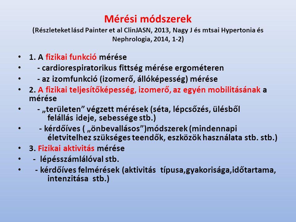 Mérési módszerek (Részleteket lásd Painter et al ClinJASN, 2013, Nagy J és mtsai Hypertonia és Nephrologia, 2014, 1-2) 1.
