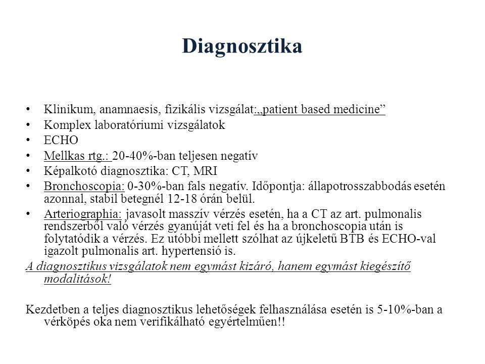 """Diagnosztika Klinikum, anamnaesis, fizikális vizsgálat:""""patient based medicine Komplex laboratóriumi vizsgálatok ECHO Mellkas rtg.: 20-40%-ban teljesen negatív Képalkotó diagnosztika: CT, MRI Bronchoscopia: 0-30%-ban fals negatív."""