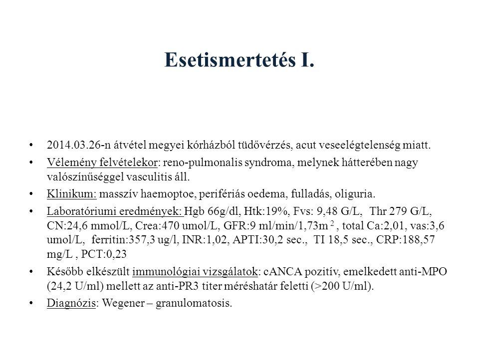 Esetismertetés I.2014.03.26-n átvétel megyei kórházból tüdővérzés, acut veseelégtelenség miatt.