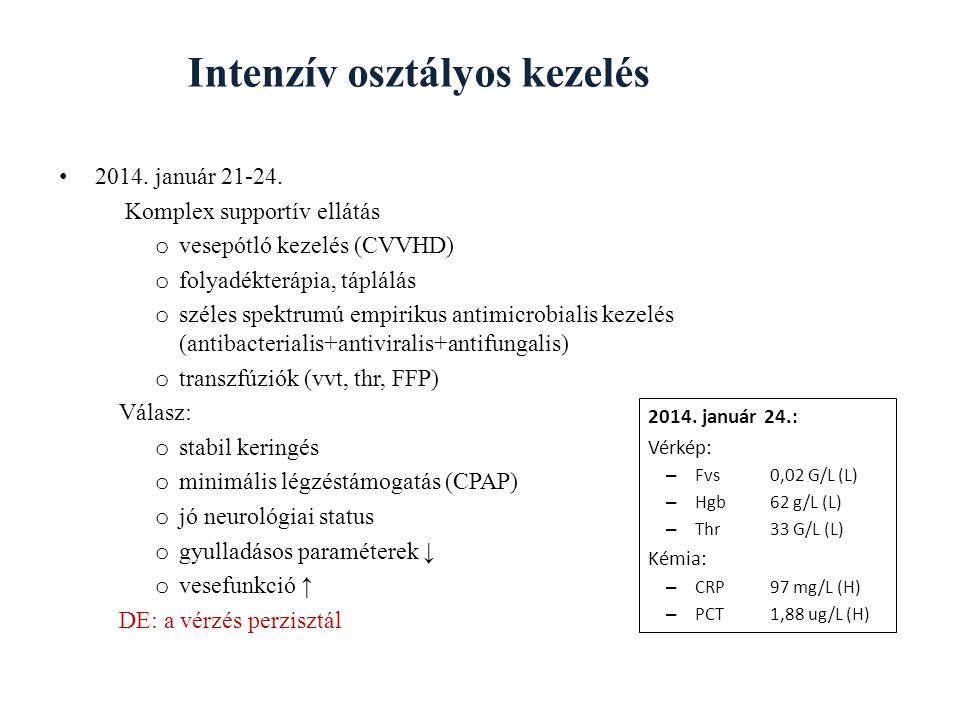 Intenzív osztályos kezelés 2014.január 21-24.