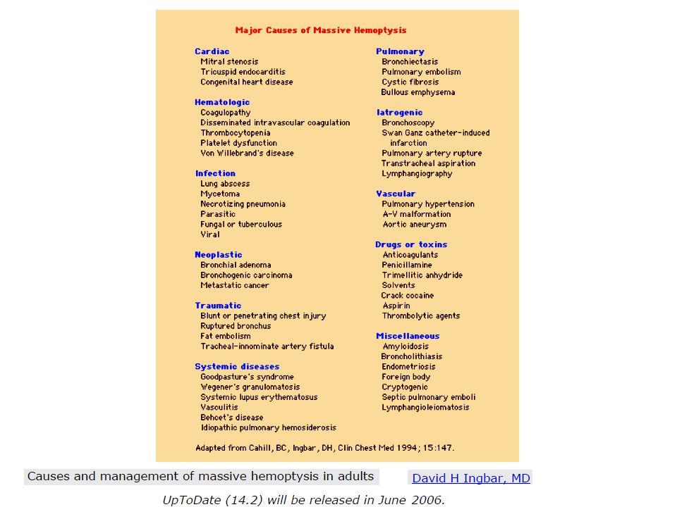 A mortalitás rizikó faktorai Retrospektív kohorsz tanulmány: 14 év 1087 intenzív osztályos beteg Csökkent cardio-pulmonalis rezervkapacitás : kisebb volumenű vérzés is életveszélyt jelent Gépi lélegeztetés Az infiltrátum kettő vagy több quadranst érint Artéria pulmonalisból eredő vérzés Daganat Aspergillosis Alkoholizmus Fartoukh M, Khoshnood B, Parrot A, et al.