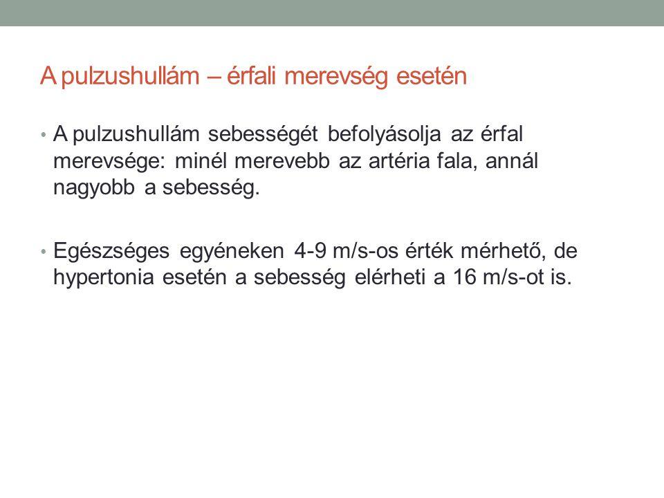 A pulzushullám – érfali merevség esetén A pulzushullám sebességét befolyásolja az érfal merevsége: minél merevebb az artéria fala, annál nagyobb a seb