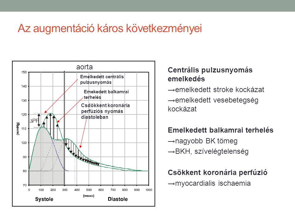 Pulzushullám terjedési sebesség és BKH 1.9 1.5 1.0 0.6 51015 r = 0.61 p < 0.001 PWV m/sec BK tömeg/volumen = NT (normotenziós) = hypertoniás (Bouthier et al, Am Heart J 1985)