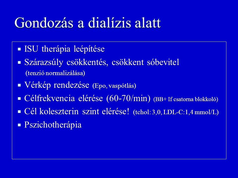  ISU therápia leépítése  Szárazsúly csökkentés, csökkent sóbevitel (tenzió normalizálása) (tenzió normalizálása)  Vérkép rendezése (Epo, vaspótlás)
