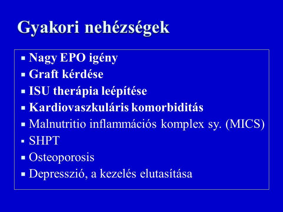  Nagy EPO igény  Graft kérdése  ISU therápia leépítése  Kardiovaszkuláris komorbiditás  Malnutritio inflammációs komplex sy. (MICS)  SHPT  Oste