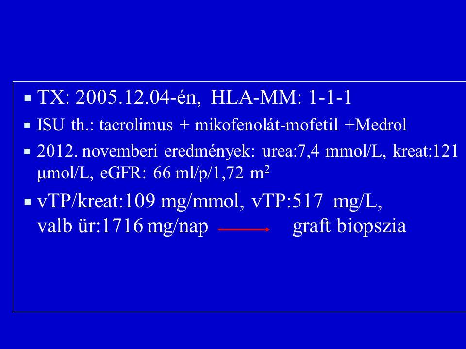  TX: 2005.12.04-én, HLA-MM: 1-1-1  ISU th.: tacrolimus + mikofenolát-mofetil +Medrol m μ  2012. novemberi eredmények: urea:7,4 mmol/L, kreat:121 μm