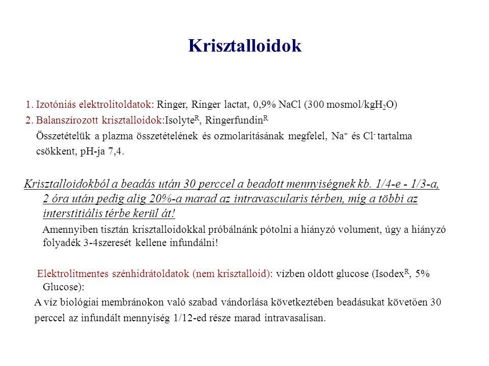 Krisztalloidok 1. Izotóniás elektrolitoldatok: Ringer, Ringer lactat, 0,9% NaCl (300 mosmol/kgH 2 O) 2. Balanszírozott krisztalloidok:Isolyte R, Ringe
