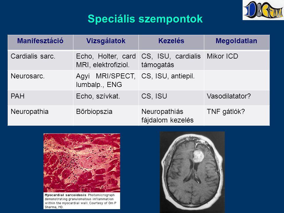 Speciális szempontok ManifesztációVizsgálatokKezelésMegoldatlan Cardialis sarc.Echo, Holter, card MRI, elektrofiziol.
