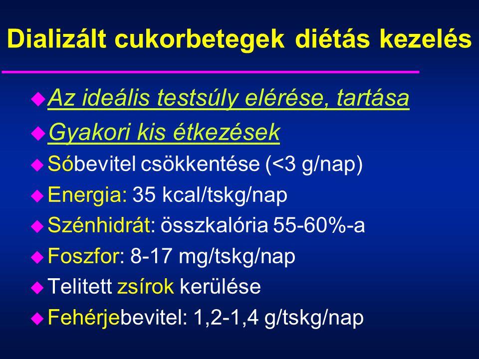 Dializált cukorbetegek diétás kezelés u Az ideális testsúly elérése, tartása u Gyakori kis étkezések u Sóbevitel csökkentése (<3 g/nap) u Energia: 35