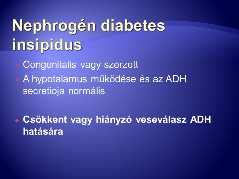  Congenitalis vagy szerzett  A hypotalamus működése és az ADH secretioja normális  Csökkent vagy hiányzó veseválasz ADH hatására