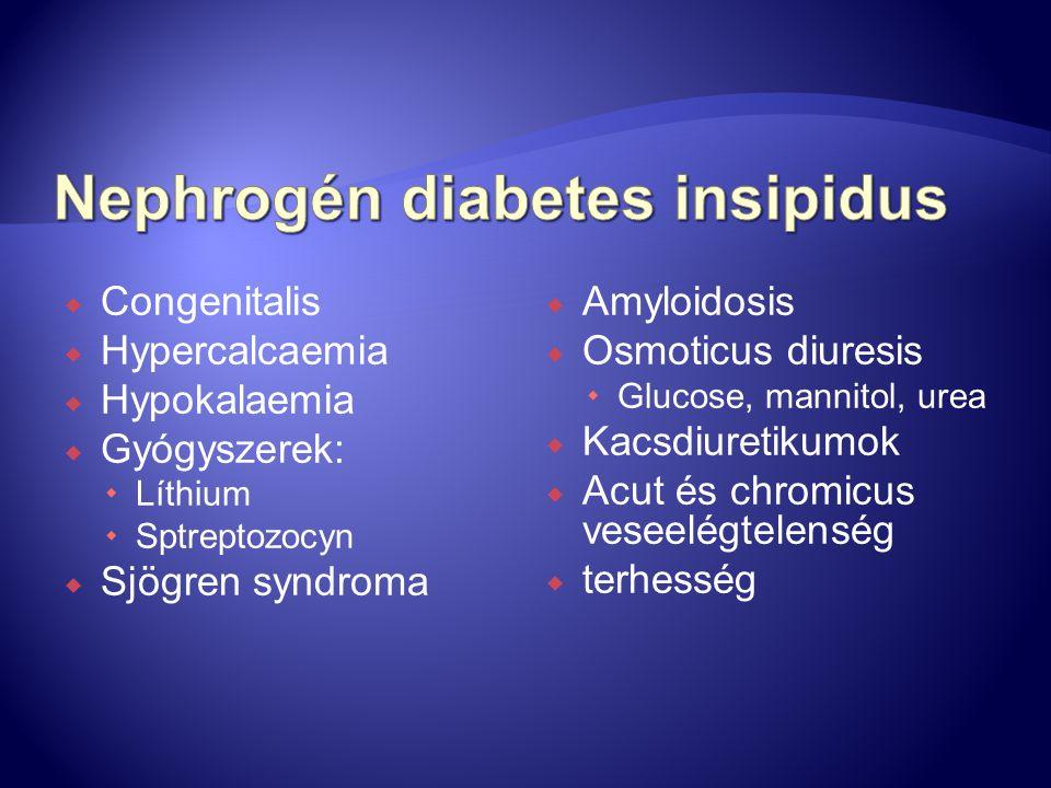  Congenitalis  Hypercalcaemia  Hypokalaemia  Gyógyszerek:  Líthium  Sptreptozocyn  Sjögren syndroma  Amyloidosis  Osmoticus diuresis  Glucos