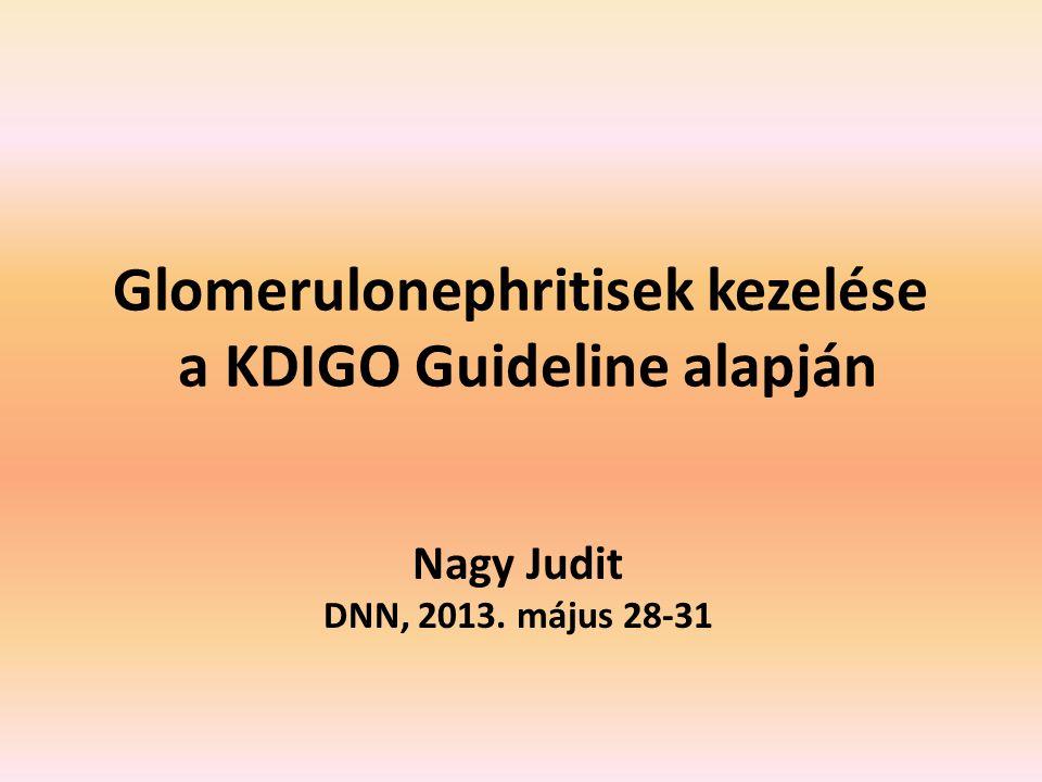 Glomerulonephritisek kezelése a KDIGO Guideline alapján Nagy Judit DNN, 2013. május 28-31