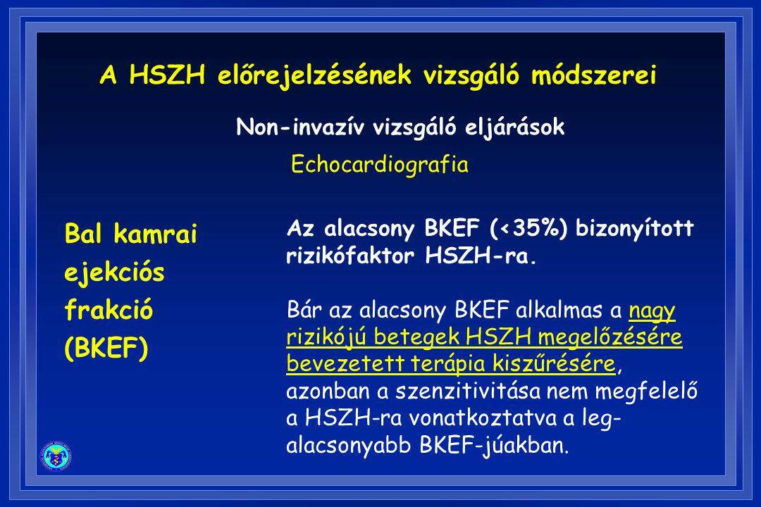 A HSZH előrejelzésének vizsgáló módszerei Non-invazív vizsgáló eljárások Echocardiografia Bal kamrai ejekciós frakció (BKEF) Az alacsony BKEF (<35%) bizonyított rizikófaktor HSZH-ra.