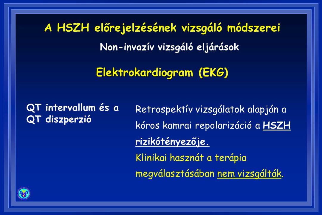 QT intervallum és a QT diszperzió Retrospektív vizsgálatok alapján a kóros kamrai repolarizáció a HSZH rizikótényezője. Klinikai hasznát a terápia meg