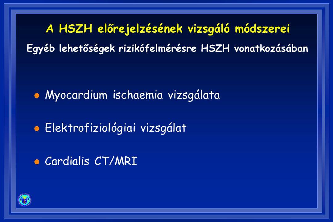 l Myocardium ischaemia vizsgálata l Elektrofiziológiai vizsgálat l Cardialis CT/MRI Egyéb lehetőségek rizikófelmérésre HSZH vonatkozásában