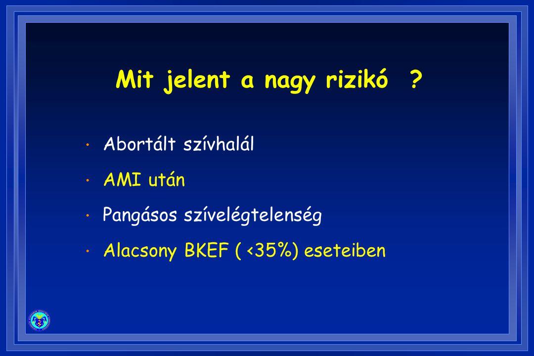 Mit jelent a nagy rizikó ? Abortált szívhalál AMI után Pangásos szívelégtelenség Alacsony BKEF ( <35%) eseteiben