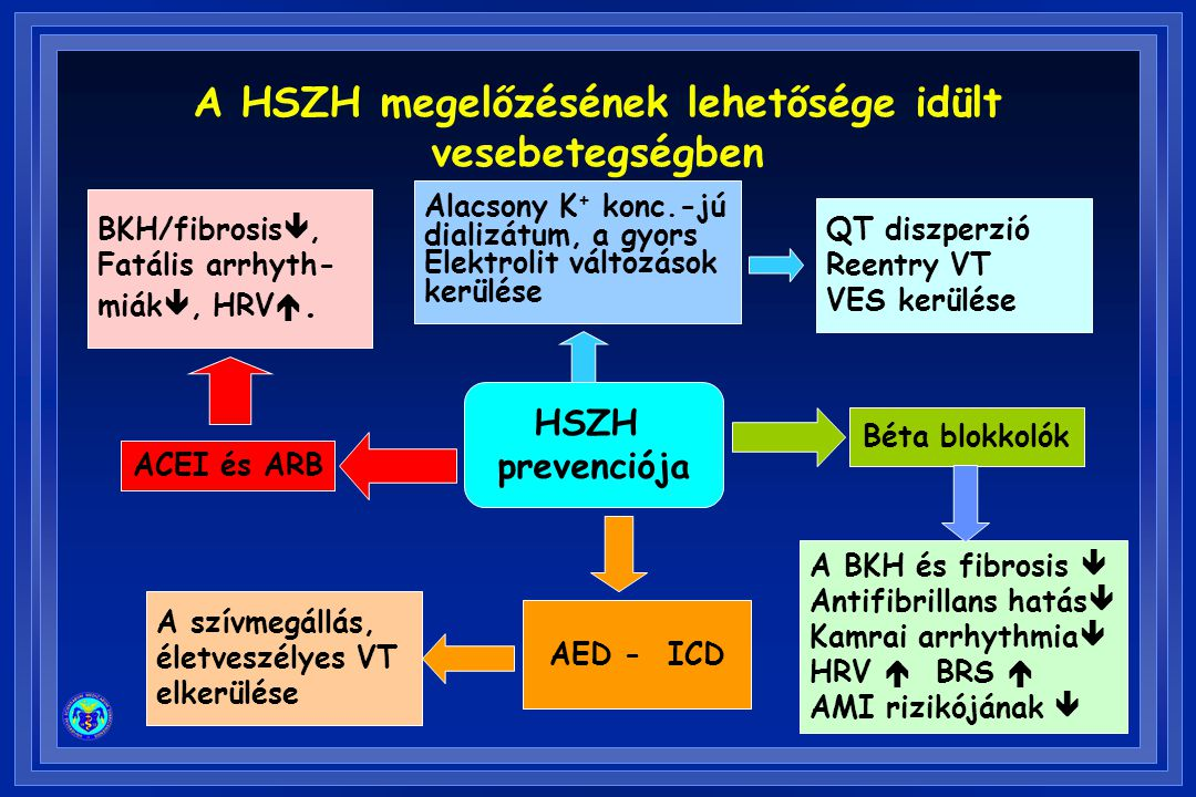 BKH/fibrosis , Fatális arrhyth- miák , HRV . Alacsony K + konc.-jú dializátum, a gyors Elektrolit változások kerülése QT diszperzió Reentry VT VES