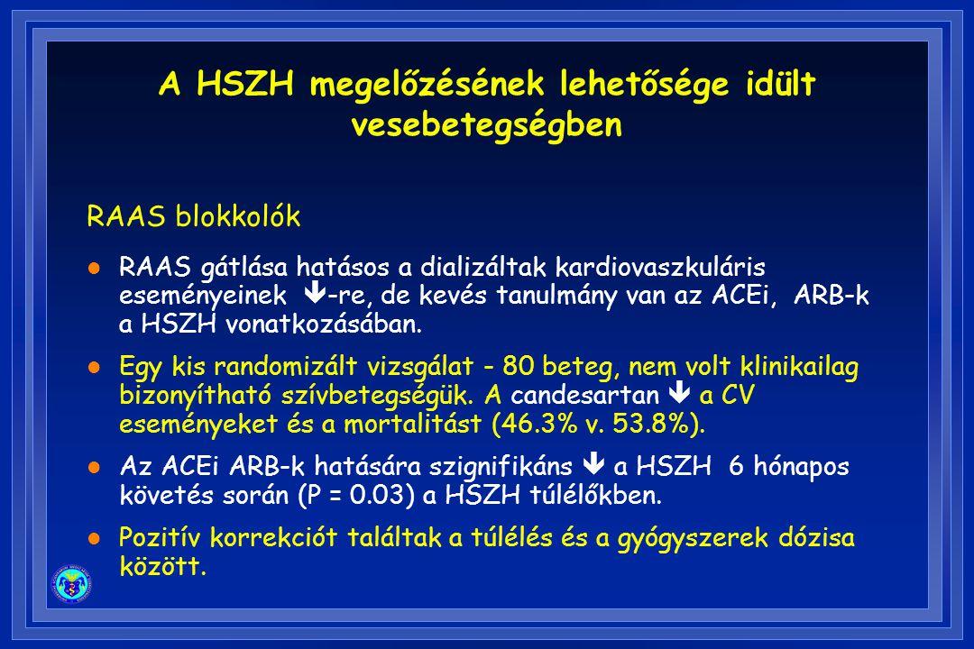 RAAS blokkolók l RAAS gátlása hatásos a dializáltak kardiovaszkuláris eseményeinek  -re, de kevés tanulmány van az ACEi, ARB-k a HSZH vonatkozásában.