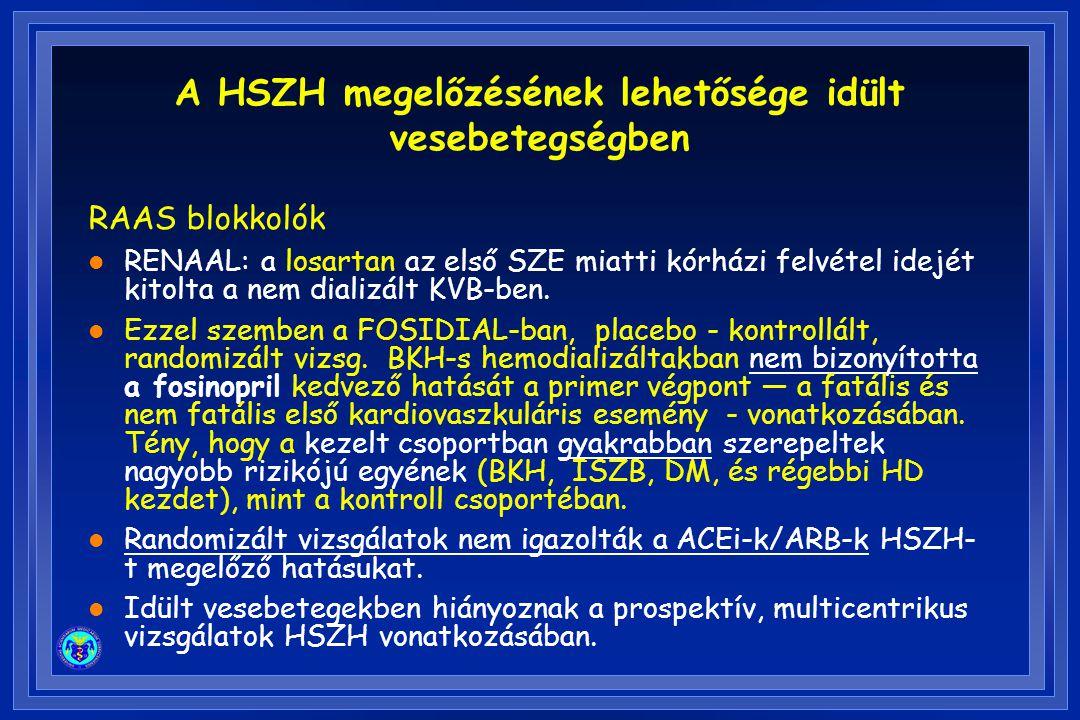 RAAS blokkolók l RENAAL: a losartan az első SZE miatti kórházi felvétel idejét kitolta a nem dializált KVB-ben. l Ezzel szemben a FOSIDIAL-ban, placeb