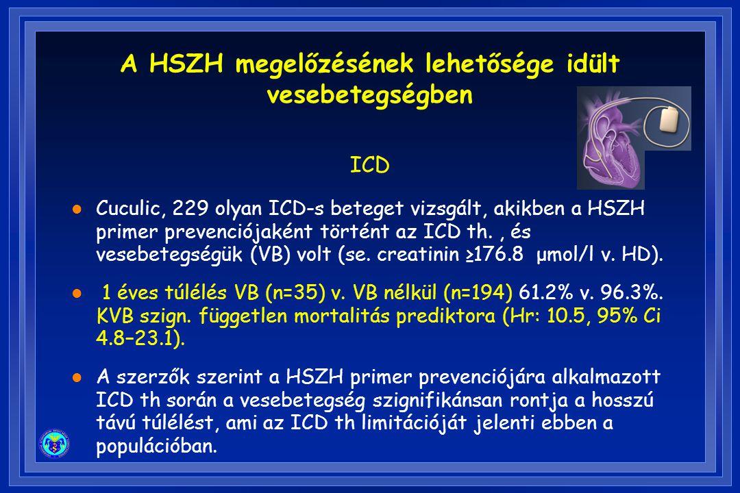 l Cuculic, 229 olyan ICD-s beteget vizsgált, akikben a HSZH primer prevenciójaként történt az ICD th., és vesebetegségük (VB) volt (se. creatinin ≥176