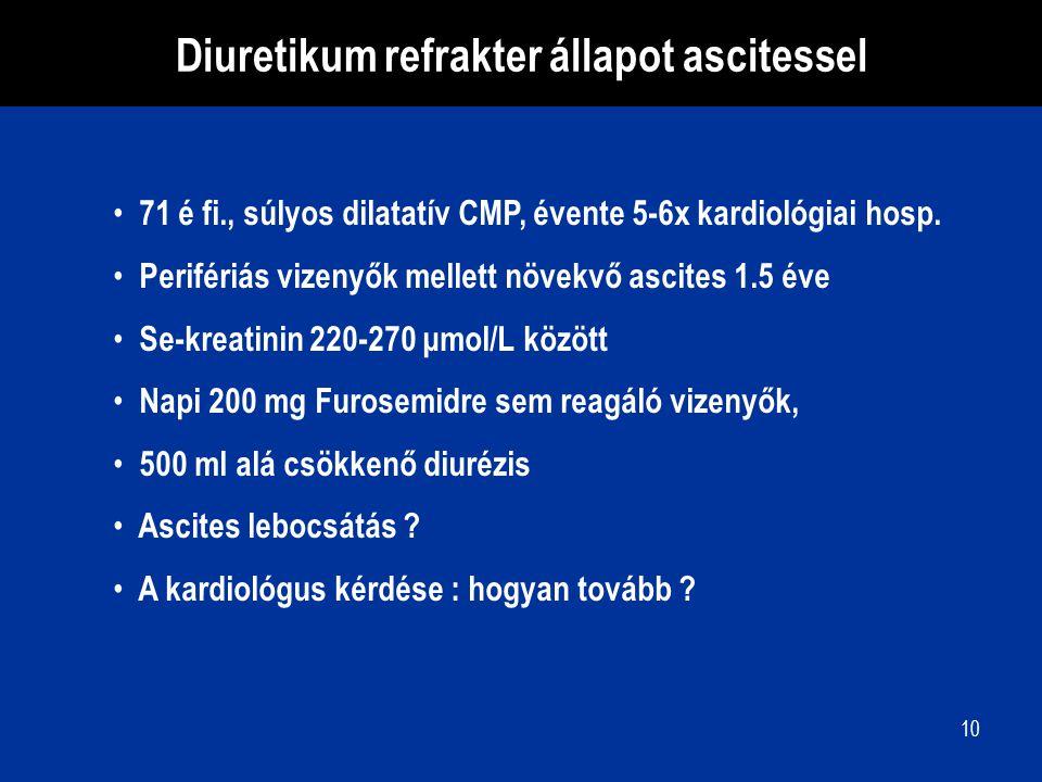 10 71 é fi., súlyos dilatatív CMP, évente 5-6x kardiológiai hosp. Perifériás vizenyők mellett növekvő ascites 1.5 éve Se-kreatinin 220-270 μmol/L közö