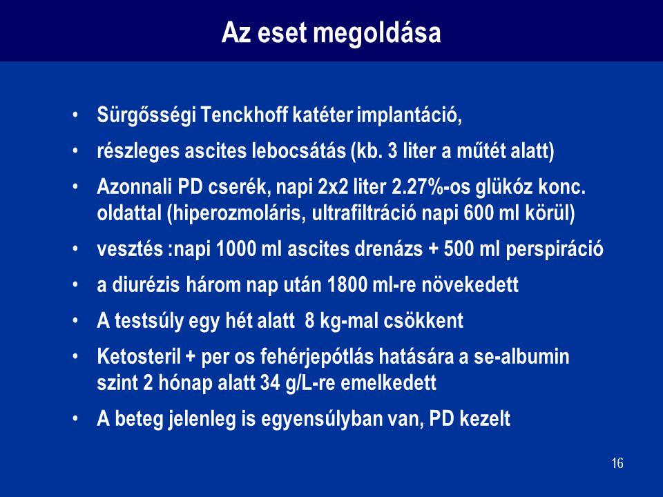 16 Az eset megoldása Sürgősségi Tenckhoff katéter implantáció, részleges ascites lebocsátás (kb. 3 liter a műtét alatt) Azonnali PD cserék, napi 2x2 l