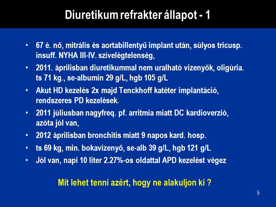 5 Diuretikum refrakter állapot - 1 67 é. nő, mitrális és aortabillentyű implant után, súlyos tricusp. insuff. NYHA III-IV. szívelégtelenség, 2011. ápr