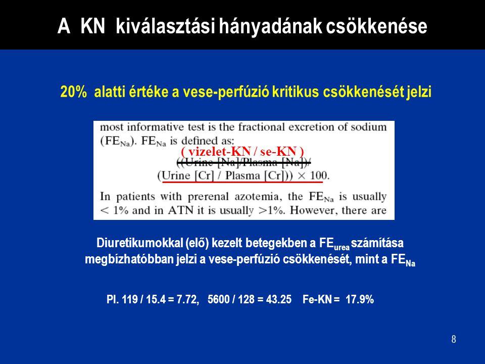 8 ( vizelet-KN / se-KN ) Diuretikumokkal (elő) kezelt betegekben a FE urea számítása megbízhatóbban jelzi a vese-perfúzió csökkenését, mint a FE Na A