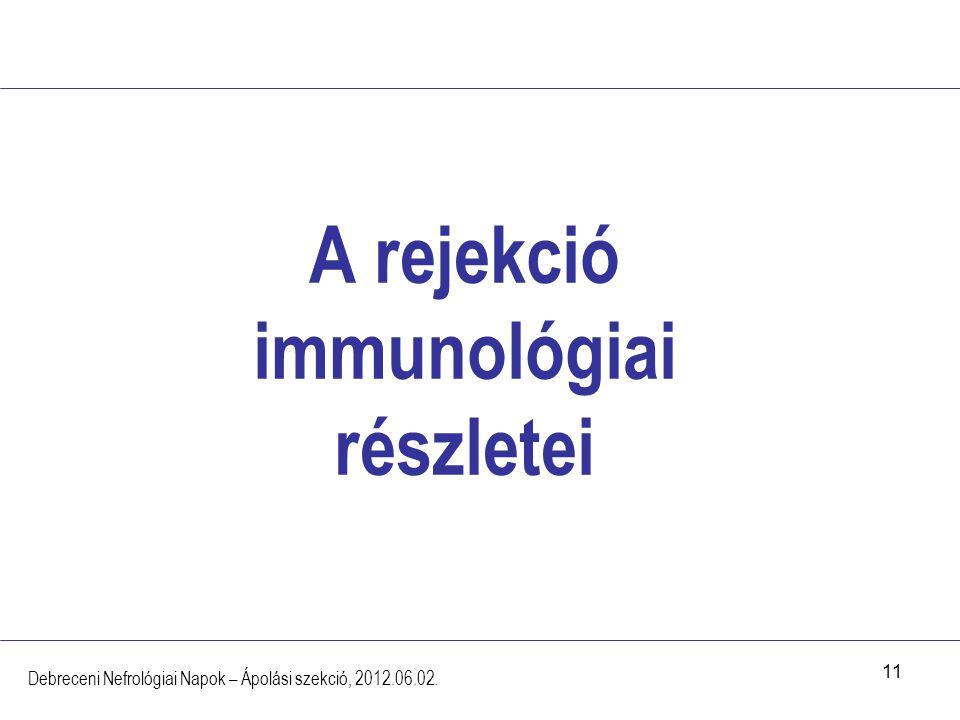 11 A rejekció immunológiai részletei Debreceni Nefrológiai Napok – Ápolási szekció, 2012.06.02.