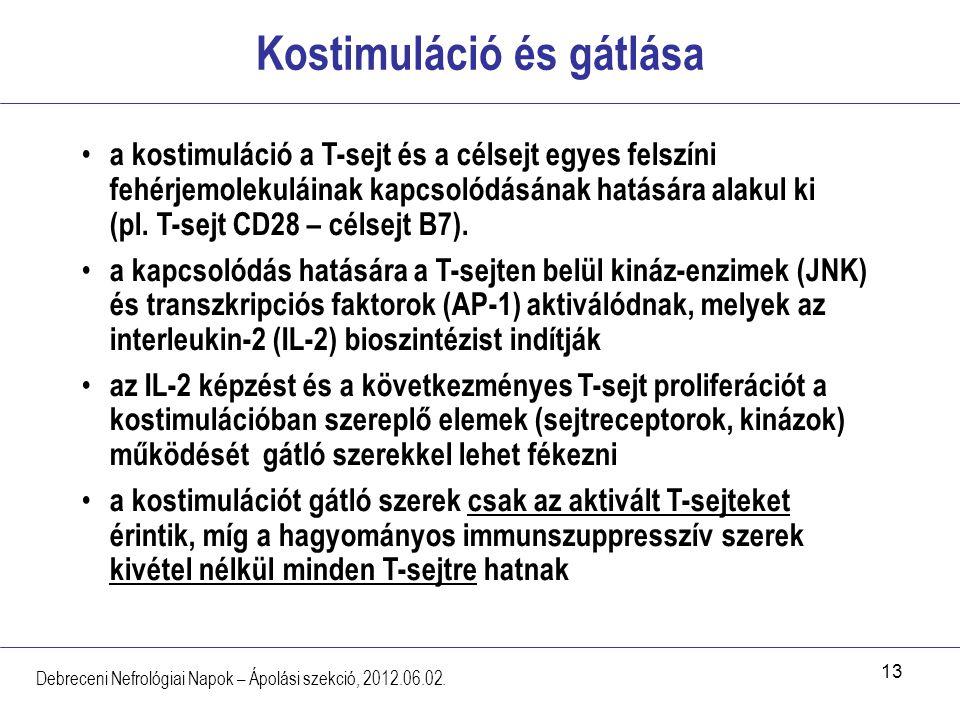 13 Kostimuláció és gátlása Debreceni Nefrológiai Napok – Ápolási szekció, 2012.06.02. a kostimuláció a T-sejt és a célsejt egyes felszíni fehérjemolek