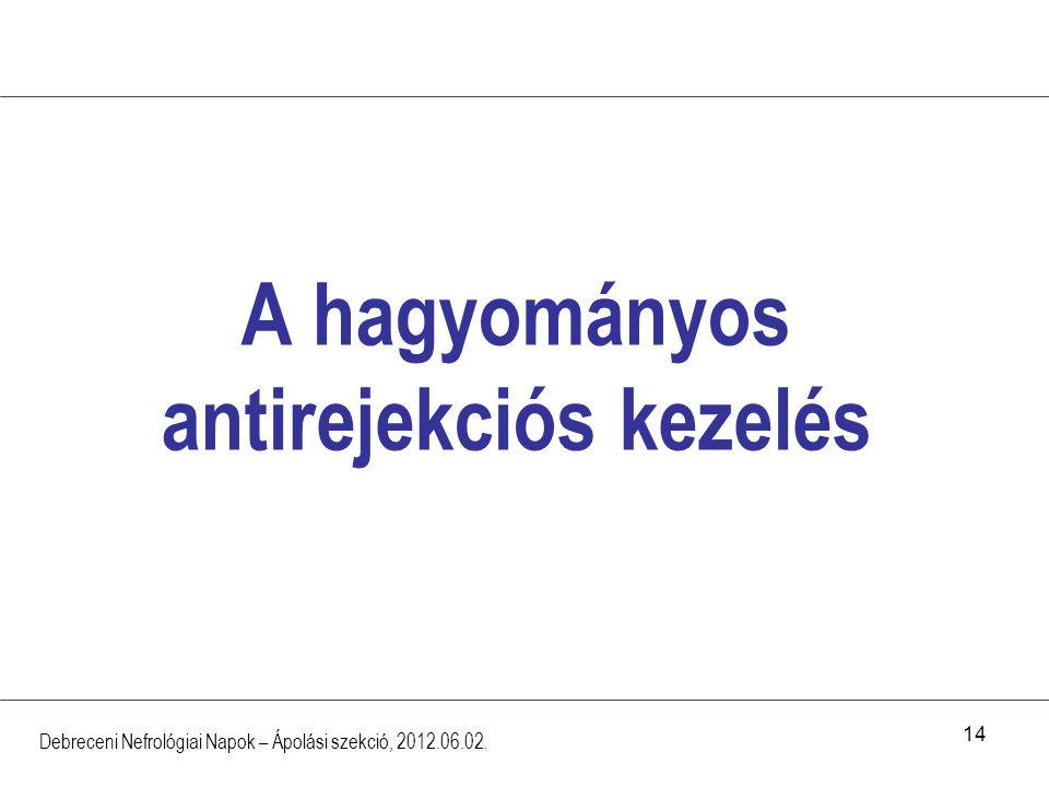 14 A hagyományos antirejekciós kezelés Debreceni Nefrológiai Napok – Ápolási szekció, 2012.06.02.