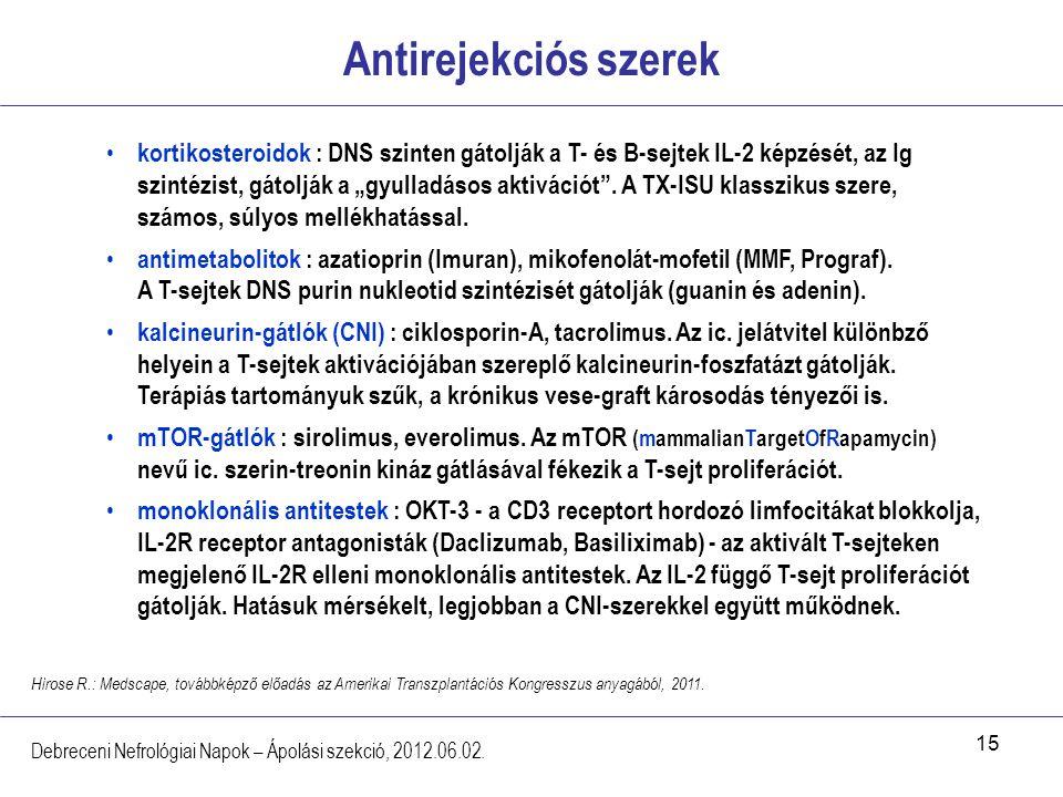 15 Antirejekciós szerek Debreceni Nefrológiai Napok – Ápolási szekció, 2012.06.02. kortikosteroidok : DNS szinten gátolják a T- és B-sejtek IL-2 képzé