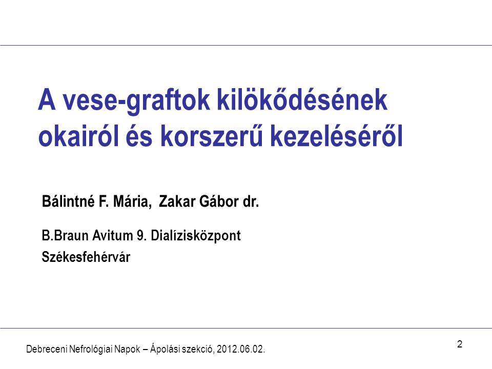 13 Kostimuláció és gátlása Debreceni Nefrológiai Napok – Ápolási szekció, 2012.06.02.