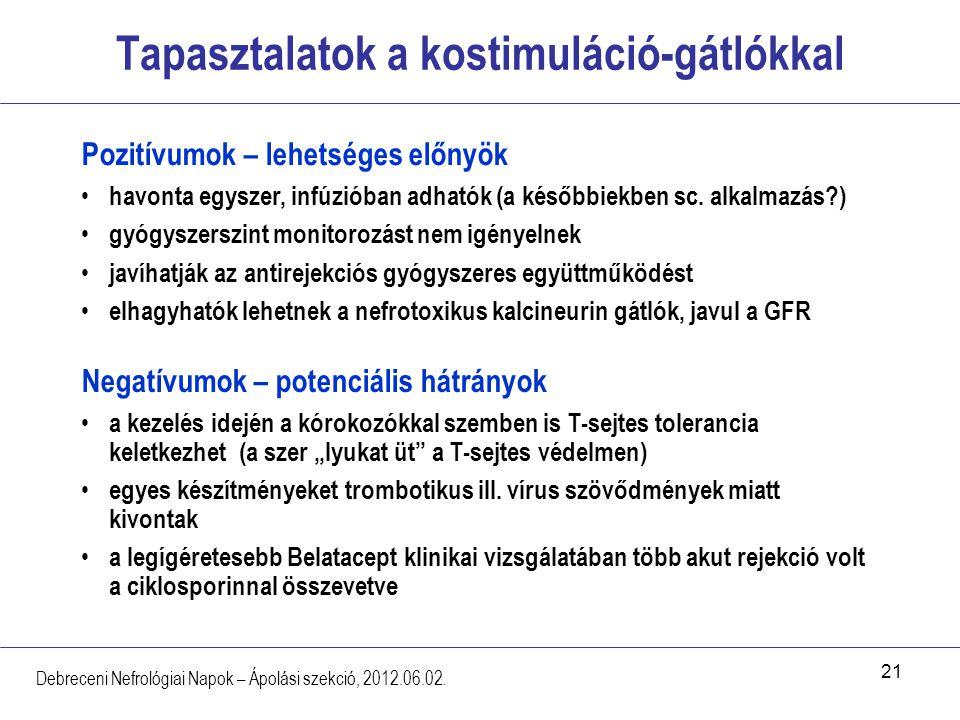 21 Tapasztalatok a kostimuláció-gátlókkal Debreceni Nefrológiai Napok – Ápolási szekció, 2012.06.02. Pozitívumok – lehetséges előnyök havonta egyszer,